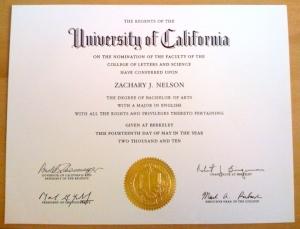 Zak's Berkeley diploma